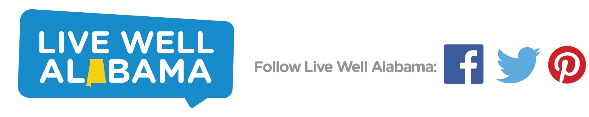 Live Well Alabama logo. Blue text bubble with white letters.