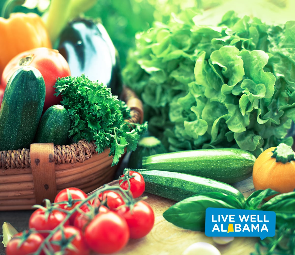Freshness vegetables; Live Well Alabama logo for social media