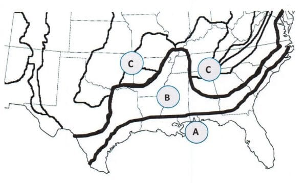 Figure 1. Physiological regions in the South that was used in the 2016 Cost of Forestry Practices survey showing (A) Southern Coastal Plain, (B) Northern Coastal Plain, and (C) Piedmont or similar uplands.