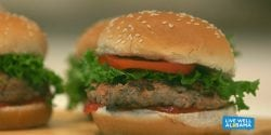 Live Well Alabama recipe, Half Veggie Burgers.
