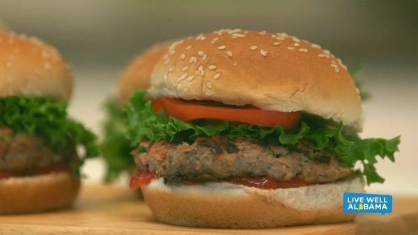 Live Well Alabama recipe, Half Veggie Burgers.