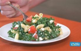 Live Well Alabama recipe, Pasta and Kale Salad. Includes kale, pasta, tomatoes and light dressing.
