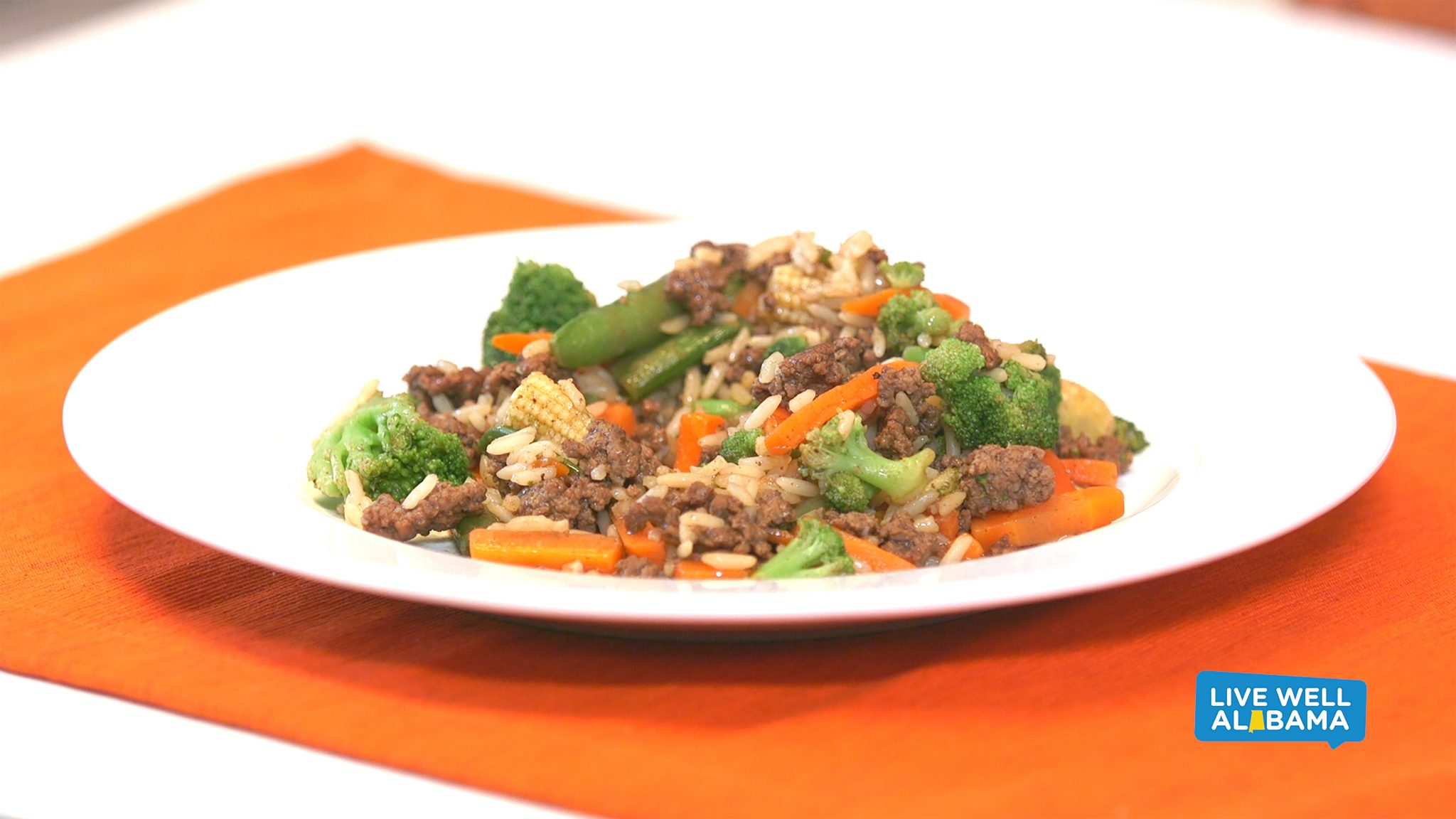 Live Well Alabama recipe, Quick Stir Fry. Includes broccoli, carrots, and other optional veggies.