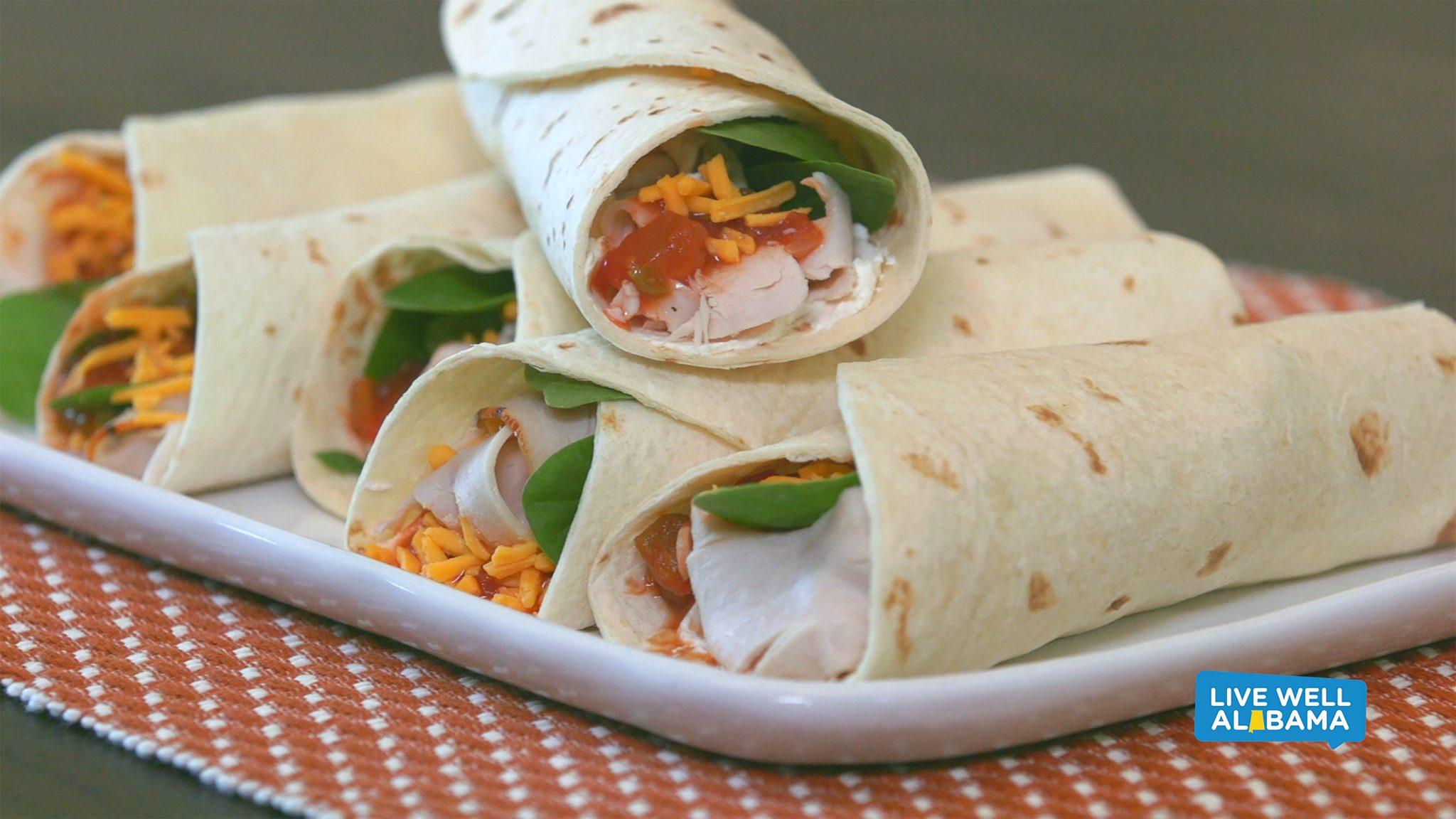 Live Well Alabama recipe, Turkey Spinach Wraps.