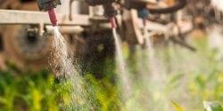 Crop sprayer spraying pesticides on crops in field