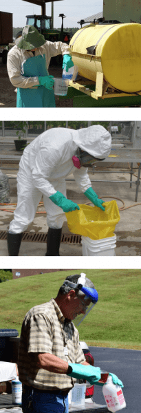 Different people demonstrating proper pesticide use.