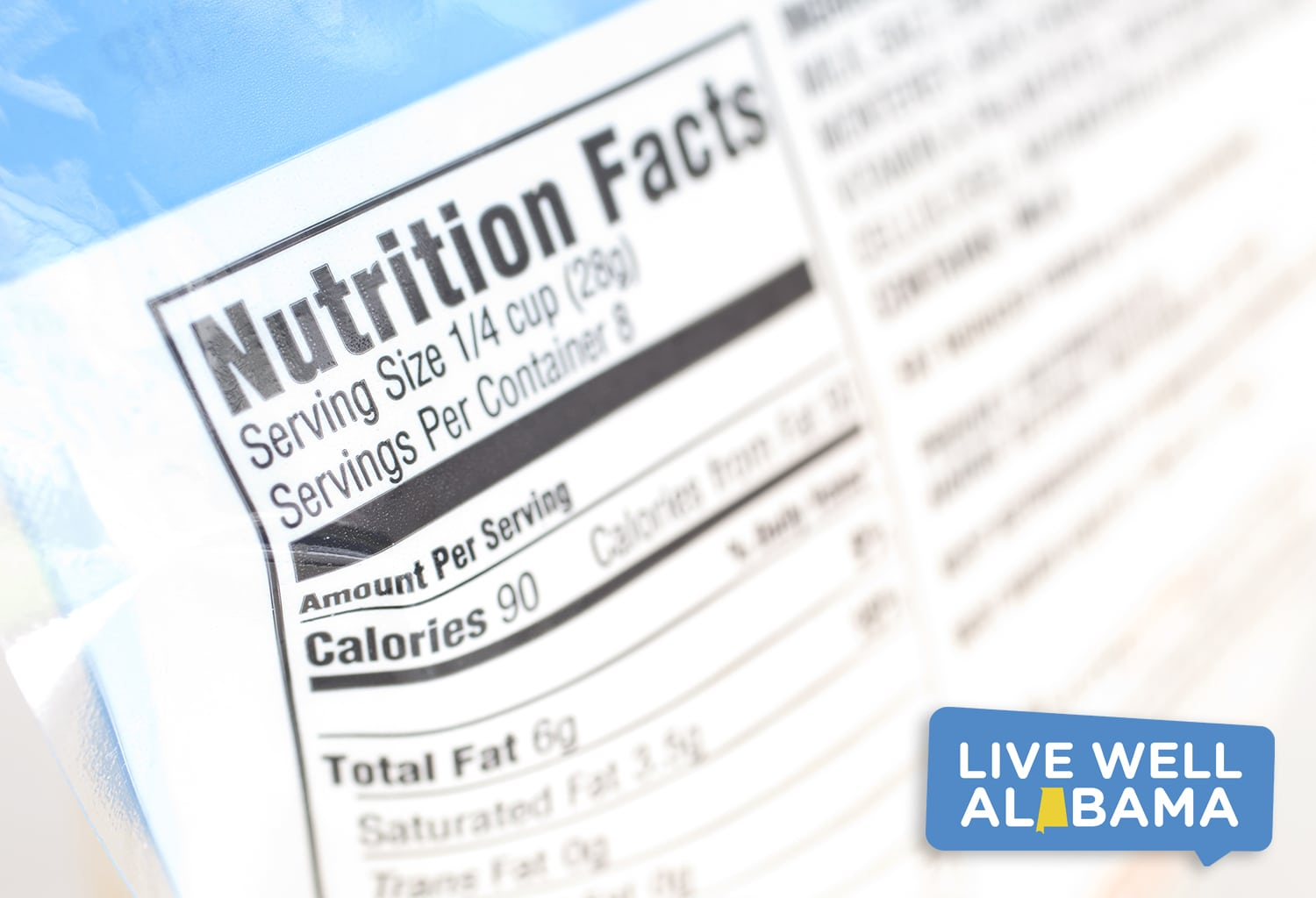 A close up on a nutrition facts label, portion control