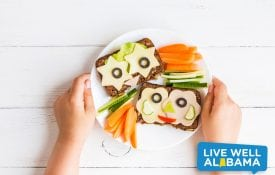 healthy eating, School lunch for kids. Child's hands. Top view, flat lay
