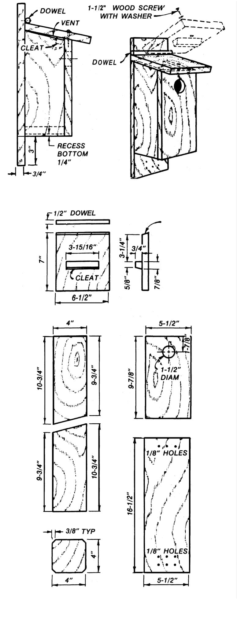 Figure 1. Construction details for a top-opening songbird nest box