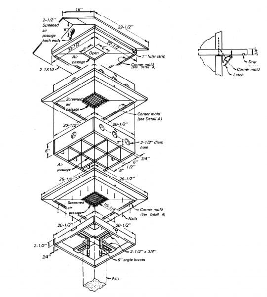 Figure 3. Construction details for a purple martin communal house