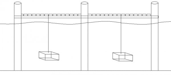 Figure 1. Page cages suspended between pilings and off the bottom