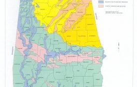 Soil Map of Alabama, showing colored regions depicting changes in soil types.