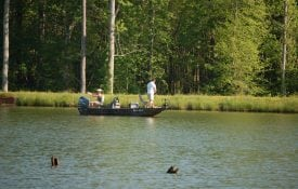 People fishing in a boat on a pond