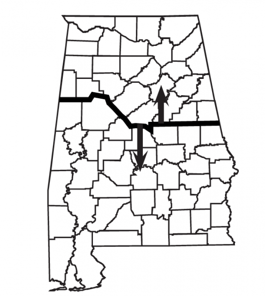 Map indicated northern and southern portions of the state of Alabama