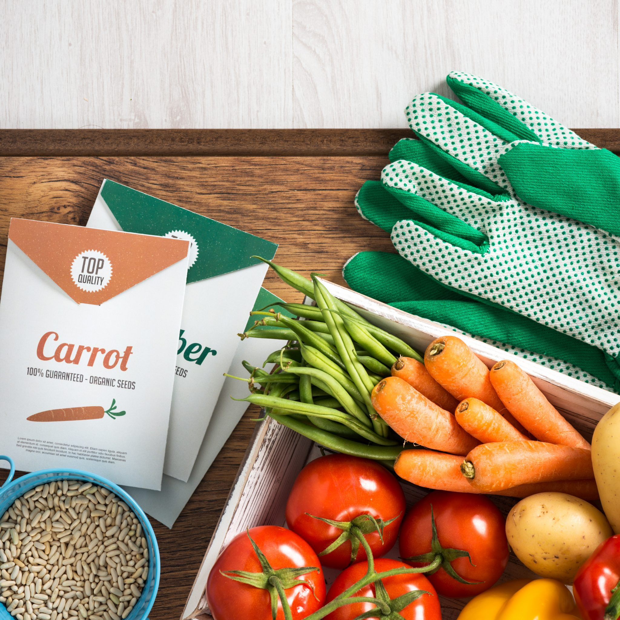 Seeds packets with crate of home grown vegetables and gardening gloves