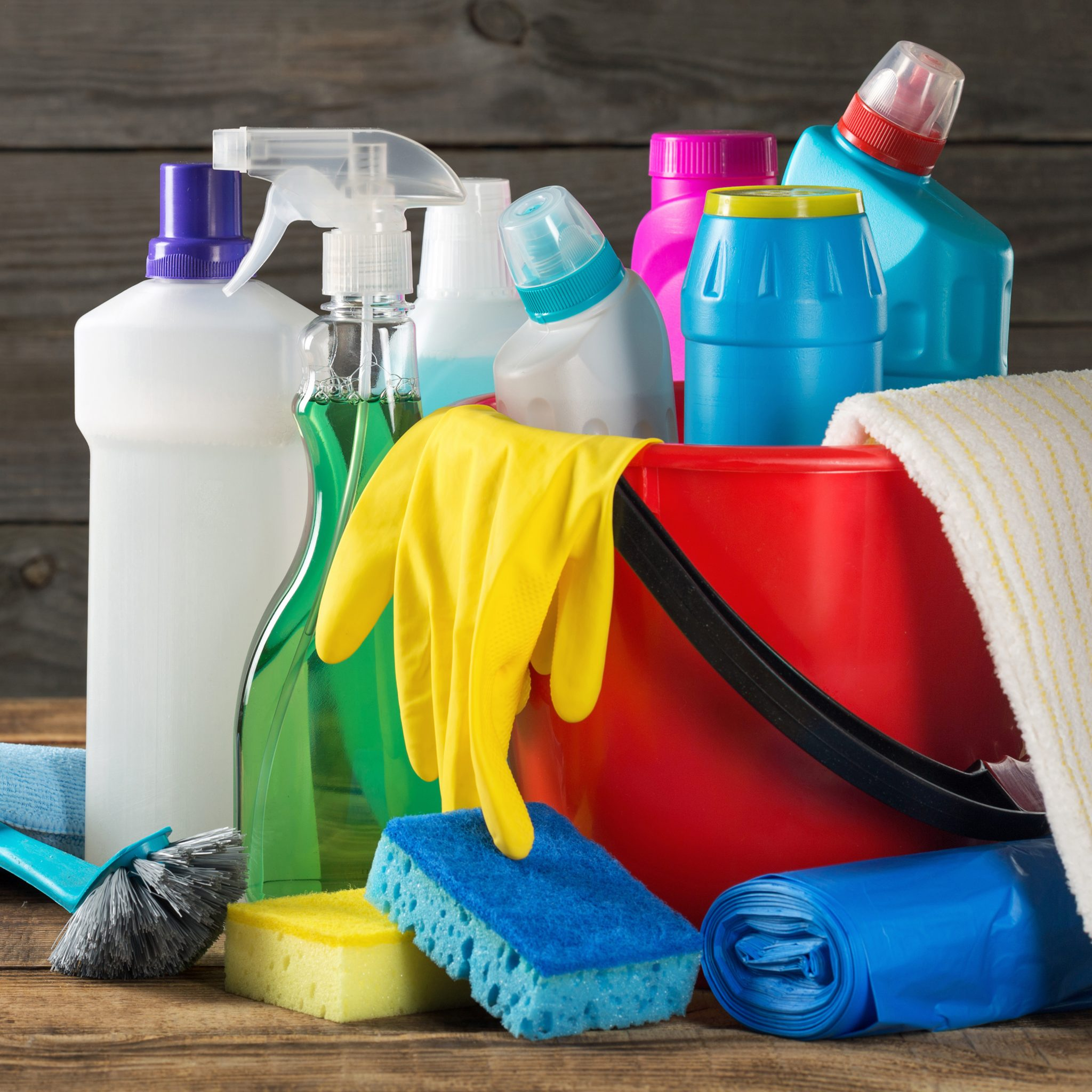 Variety house cleaning products