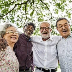 Group of culturally diverse older adults smiling