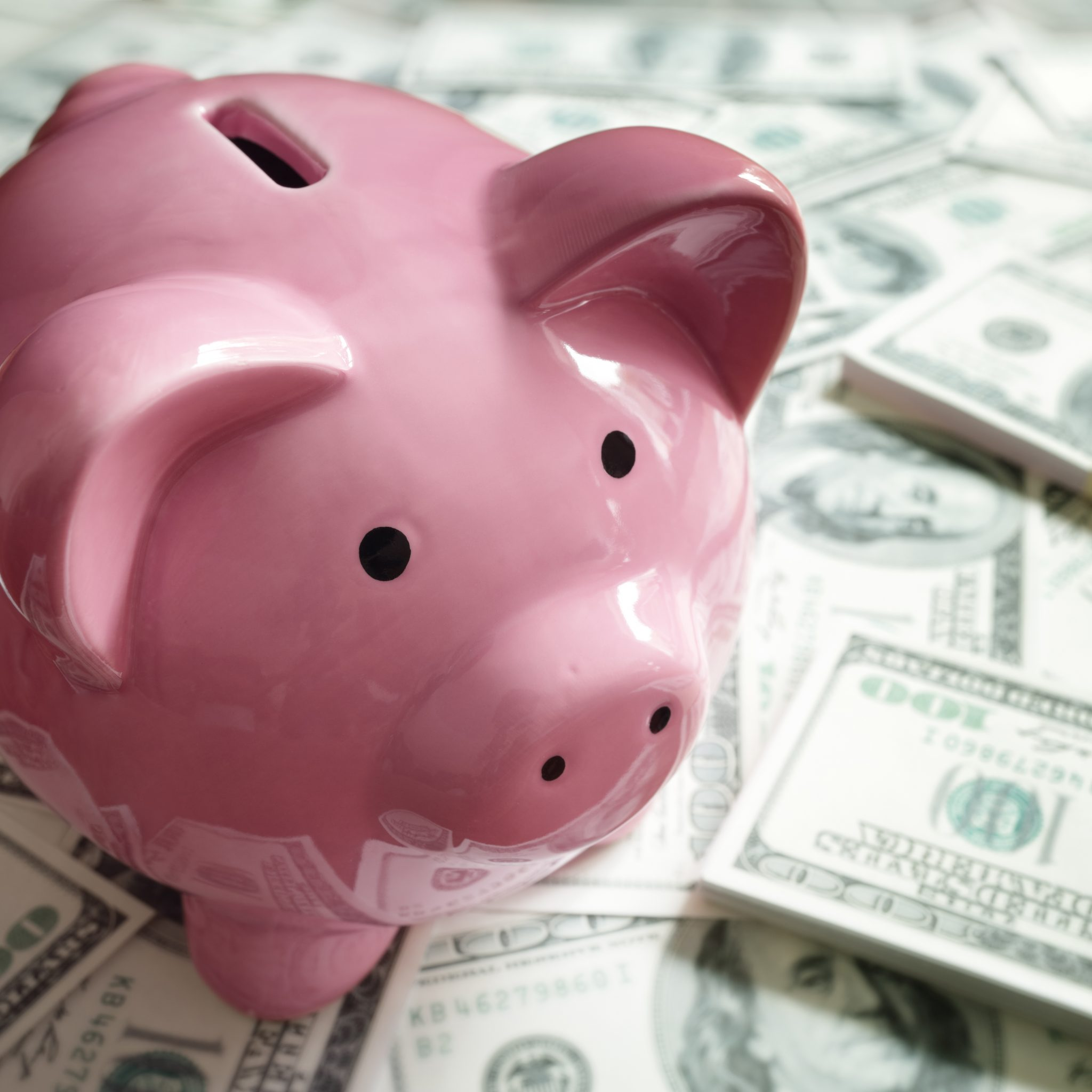 Pink piggy bank resting on a table of money.