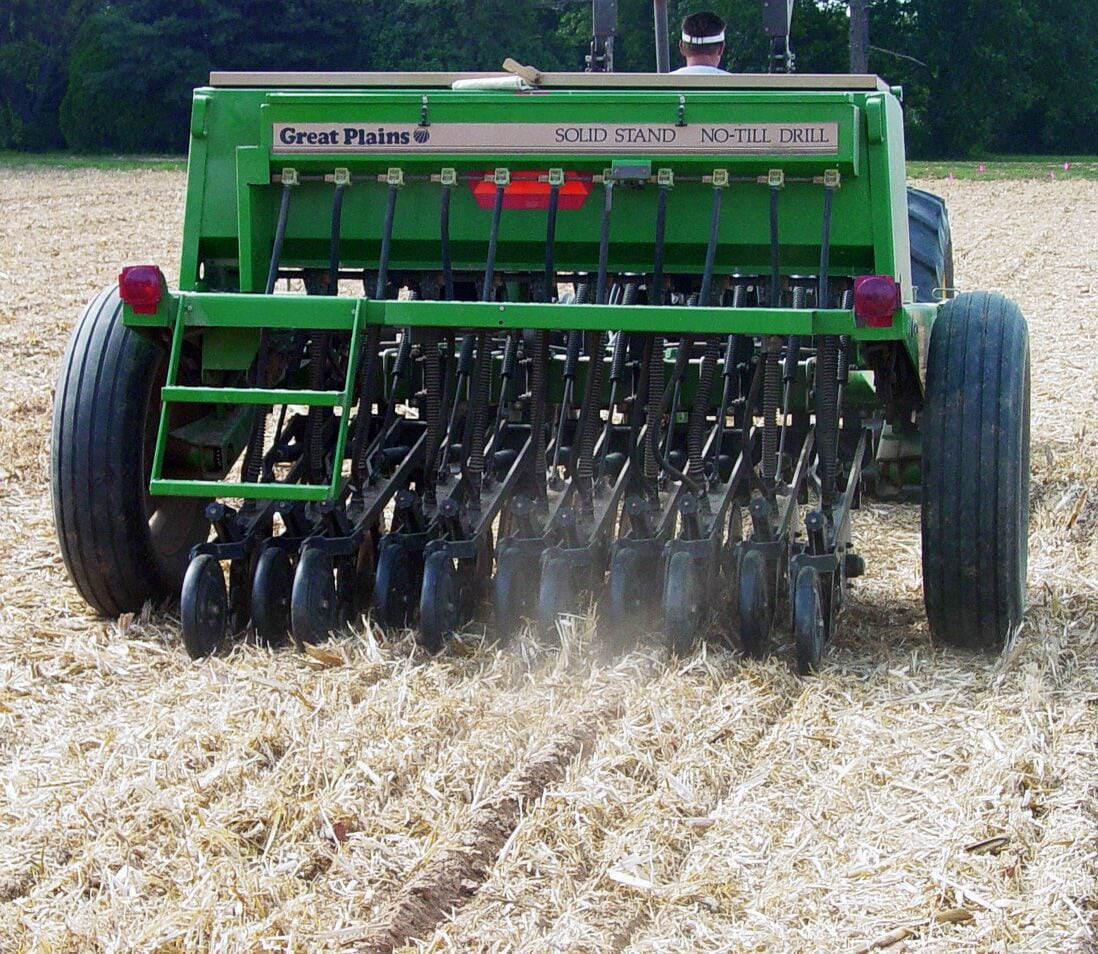 Drill planting in high-residue systems.