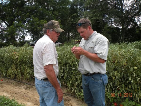 Regional Extension Agent, Neil Kelly, helps a farmer with insect problems.