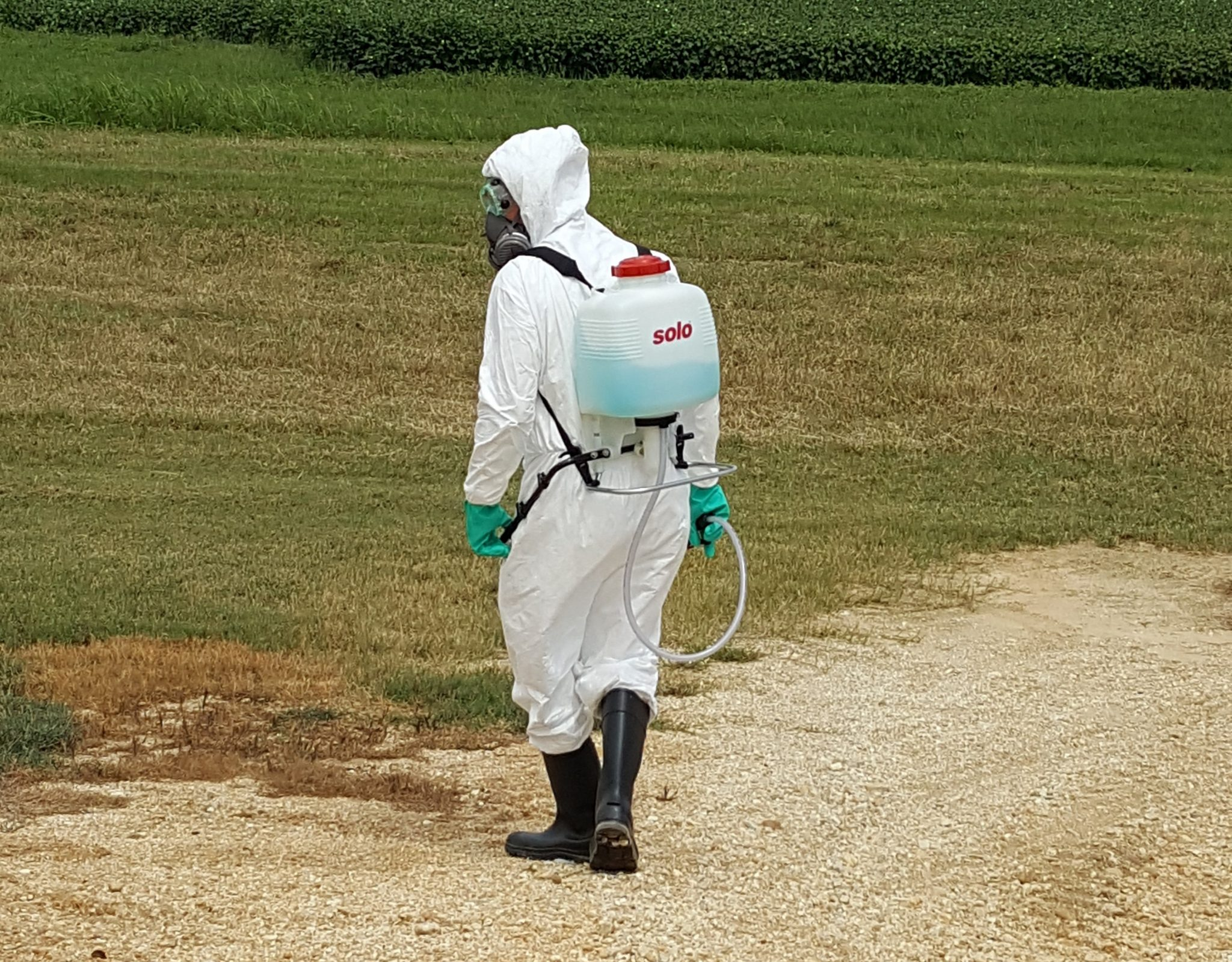 ully protected Applicator with spray backpack walking in a field.