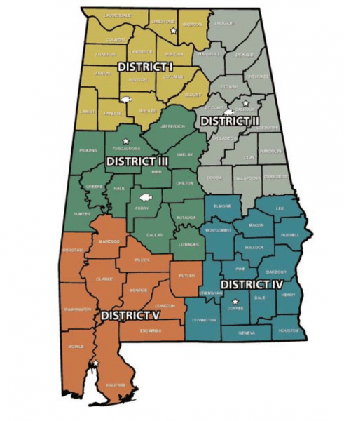 Fisheries district boundaries and office locations, Alabama Department of Conservation and Natural Resources, Division of Wildlife and Freshwater Fisheries
