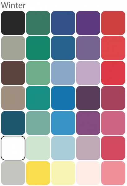 Color chips for 35 winter colors