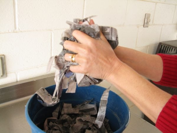 Soak bedding material and wring out excess water.