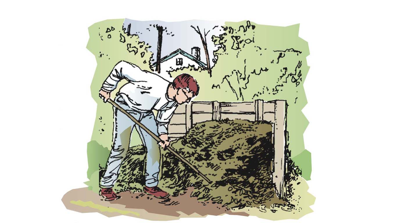 Illustrated man with compost pile