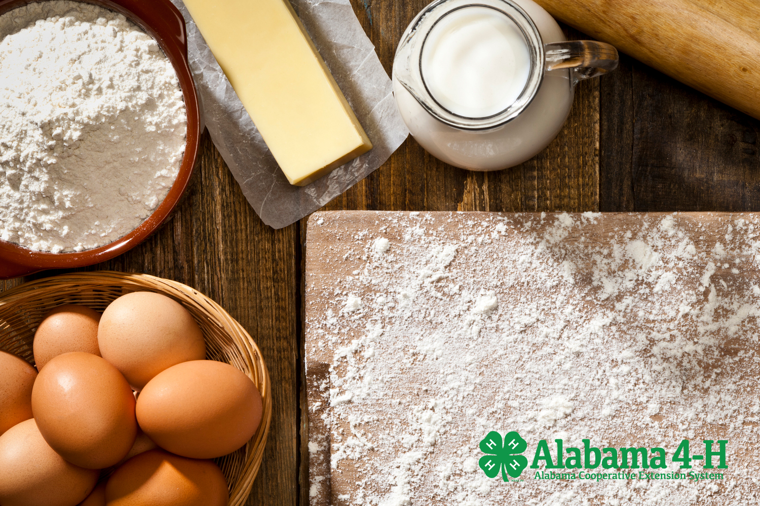 Alabama 4-H Bake Off; image of eggs, flour, butter for baking