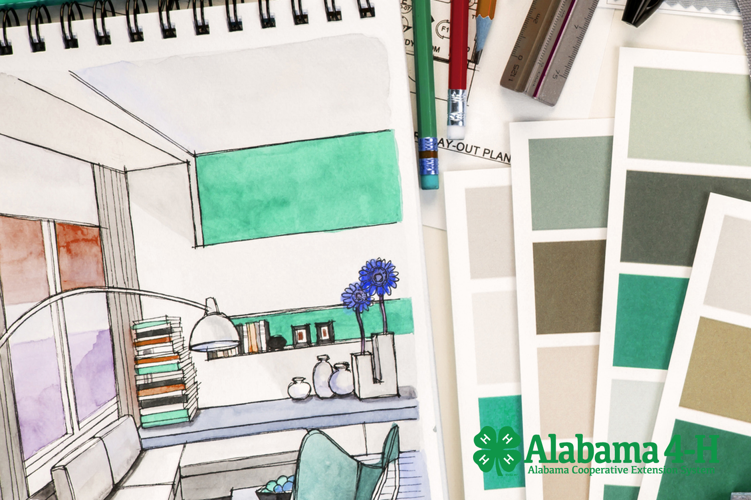 Alabama 4-H Interior Design; art sketch and fabric swatches