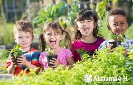 Alabama 4-H Cloverbuds; members in garden