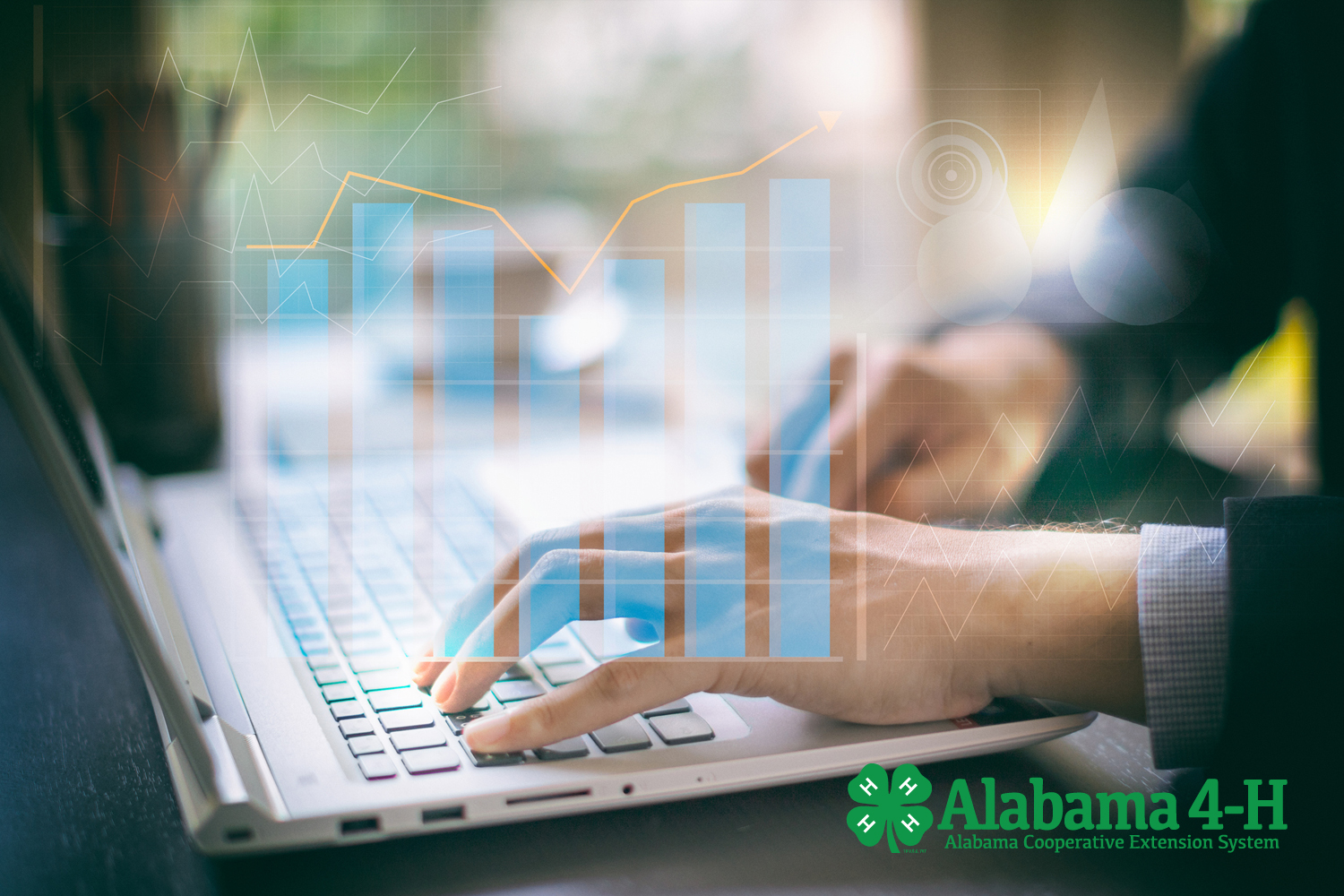Alabama 4-H Foundation stock gifts; businessman on computer