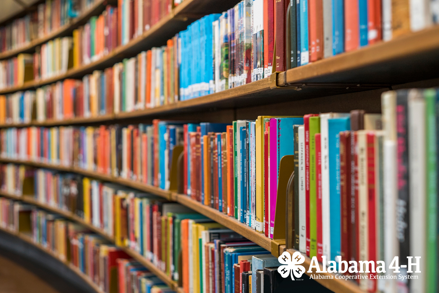 Alabama 4-H Foundation memorial and tribute gifts; image of library bookshelf