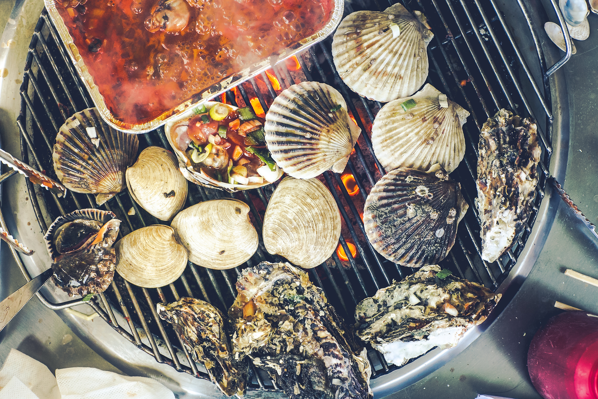 High Angle View Of Seafood Grilling On Barbeque