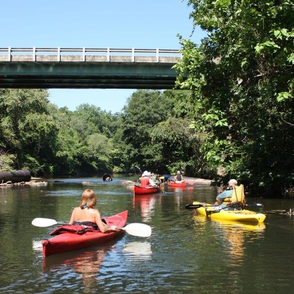 Canoe float trip on creek