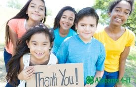 Alabama 4-H Foundation endowed gifts; group of youth with thank you sign