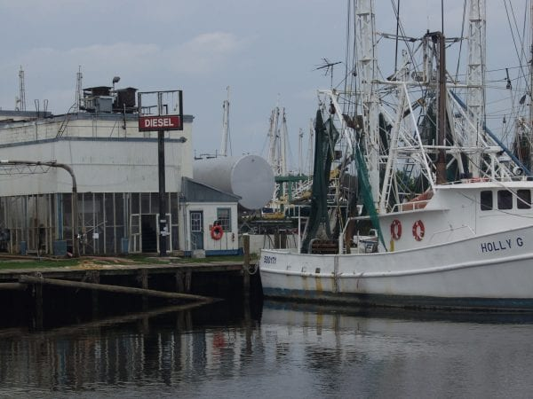 Shrimp boats at fueling dock