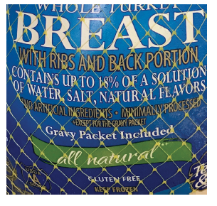 Self-Basting, Natural Product Label