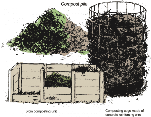 Compost pile. 3-bin composting unit. Composting cage made of concrete reinforcing wire.