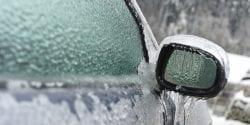 Frozen car side-view mirror