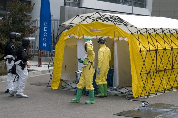 People wearing safety equipment