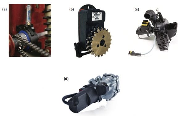 Examples of available row clutches that may be used on planters: (a) Trimble/TruCount's pneumatic and (b) AgLeader's electric. Other options include direct meter drives such as (c) Horsch's electric drive and (d) Precision Planting's electronic vDrive. (Images courtesy of the respective companies.)