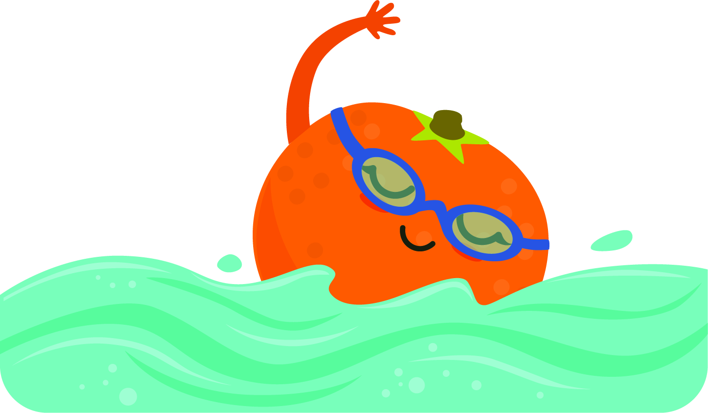 Illustartion of an orange wearing swimming goggles and swimming laps