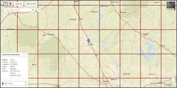 Grid example for central Alabama (Source: USDA RMA PRF Decision Tool)
