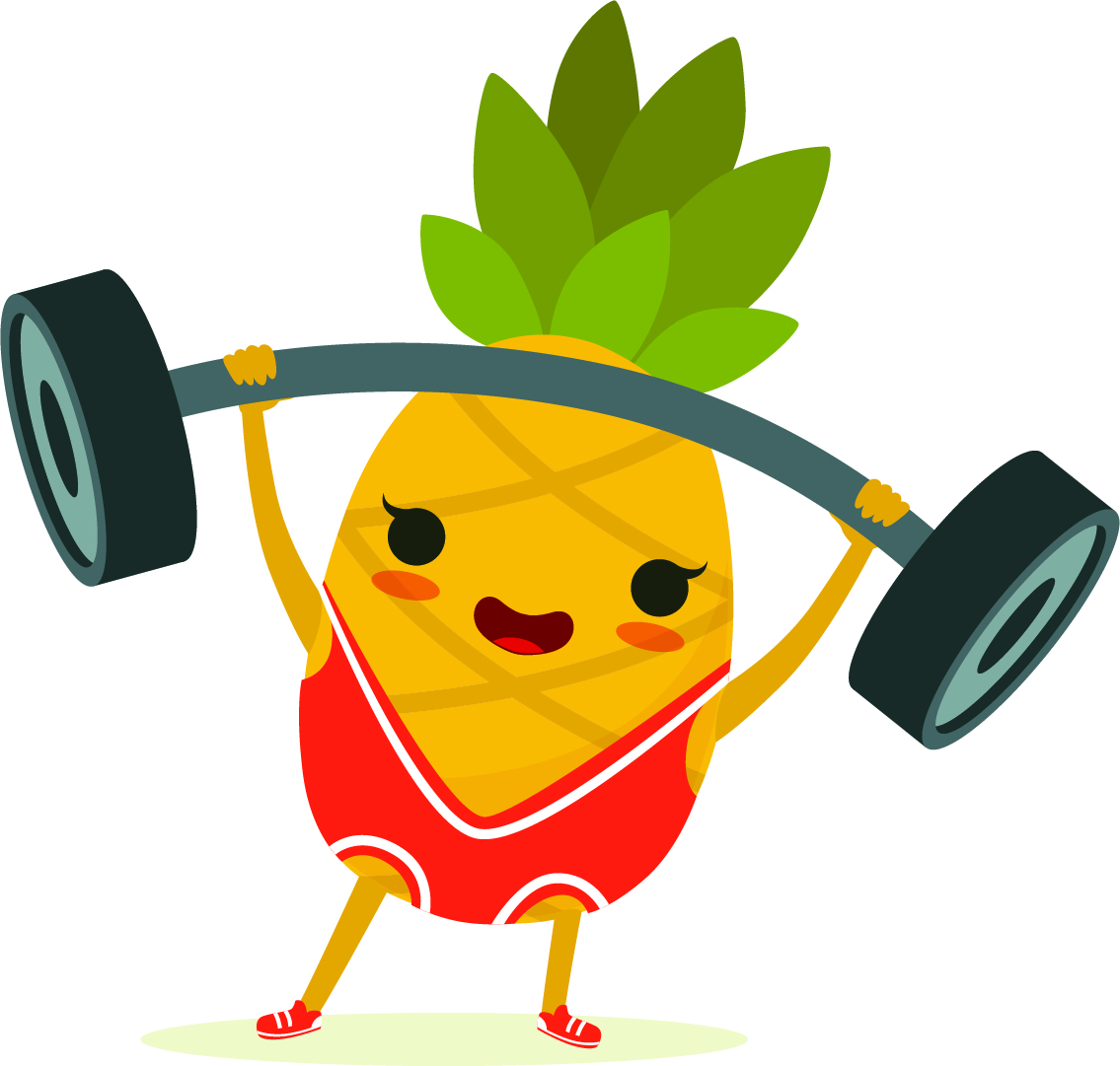 Illustration of a pineapple wearing weightlifting uniform and raising a barbell.