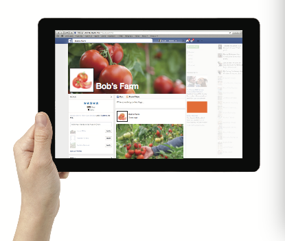 Image of a farms Facebook page shown on a tablet.