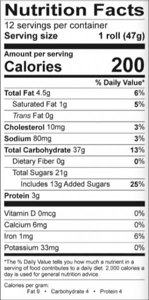 Nutrition Facts label example.