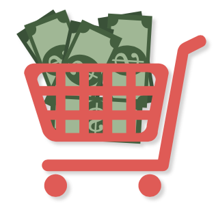 Illustrated shopping cart with money in it.