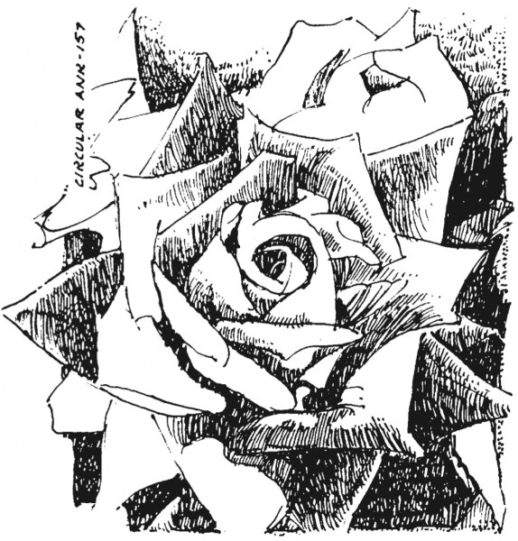 Black and white illustration of a rose.
